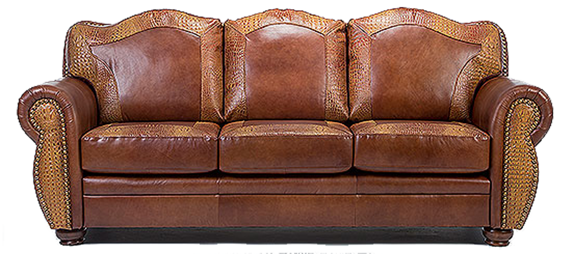 Attrayant Genuine Leather Western Couch With Embossed Alligator Accents