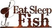 Eat, fish and sleep metal wall hangings