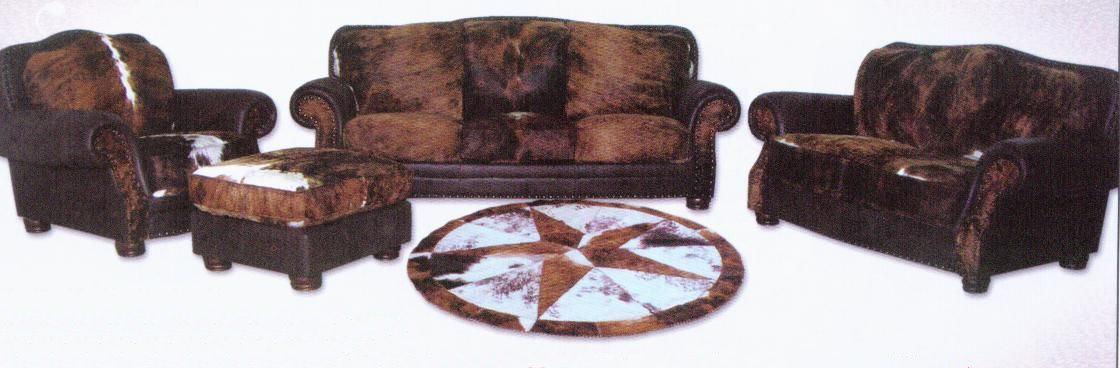 WESTERN THEMES HOME DECOR - COWHIDE LIVING ROOM FURNITURE / WALL ART