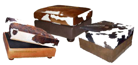 COWHIDE OTTOMANS, HAIR ON HIDE OTTOMANS, RUSTIC OTTOMANS, COUNTRY WESTERN OTTOMANS, COWHIDE STORAGE OTTOMANS
