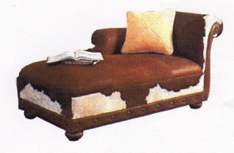 Attractive COWHIDE CHAISE LOUNGE / HAIR ON HIDE FURNITURE
