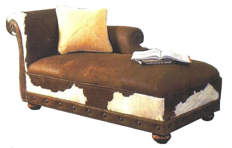 Western theme home decor country style home furniture for Chaise lounge cowhide