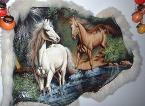Two Horses Hand Painted on Hide