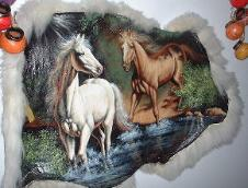 horses hand painted cowhide