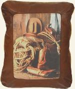 WESTERN COWBOY THEME LEATHER DESIGNER COWHIDE THROW PILLOWS