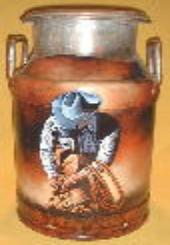 Painted Milk Can With Cowboys