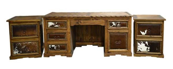 Country Western Executive desk with cowhide