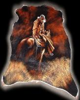 cowboy hand painted cowhide