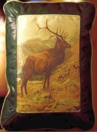 WILDLIFE / WILDERNESS THEMES LEATHER DESIGNER COWHIDE THROW PILLOWS FOR THE HUNTERS LOG CABIN RETREAT