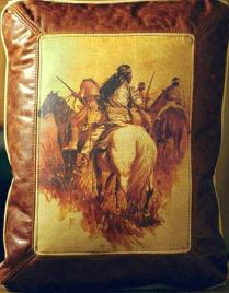native american indian theme leather designer cowhide throw pillows