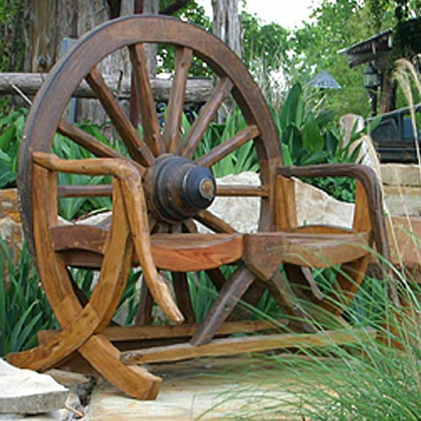 Country Western Pool Furniture. RUSTIC OUTDOOR WAGON WHEEL BENCH