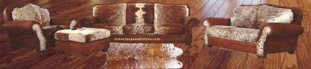 Rustic Living Room Furniture, Cowhide Living Room Furniture, Hair on Hide Living Room Furniture