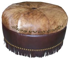ROUND COWHIDE OTTOMANS, ROUND ALLIGATOR OTTOMANS, GATOR OTTOMANS, CROCODILE LEATHER OTTOMANS, CROC OTTOMANS, ALLIGATOR SKIN, CROCODILE SKIN, HAIR ON HIDE, OSTRICH AND EXOTIC LEATHER SKINS