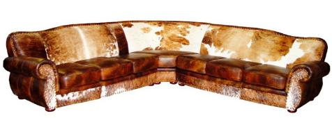 Rustic Cowhide Sectional, Rustic Leather Sectional, Rustic Living Room Furniture, Rustic Conversation Pits, Rustic Media Room Furniture